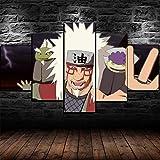 YAMED Anime Naruto Jiraiya Cuadro en Lienzo 5 Piezas Lienzos Preestirados Material Tejido no Tejido Impresión Artística Imagen Gráfica Canvas Decoracion de Pared Gift 150x80cm Marco