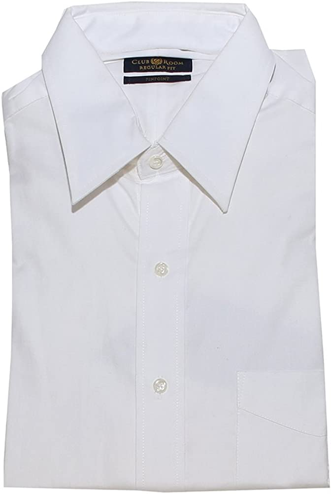 Club Room Mens Cotton Pinpoint Short-Sleeve Dress Shirt, White, 16