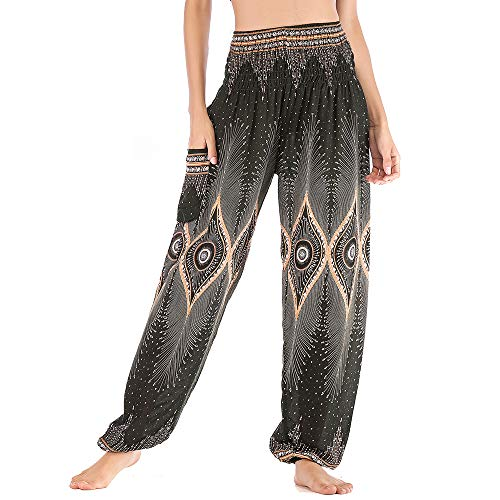 Nuofengkudu Mujer Algodón Thai Pantalones Hippies Cintura Alta con Bolsillo Boho Estampados Baggy Comodo Harem Pantalón Indios Yoga Pants Verano Playa(Negro Ojo,Talla única)