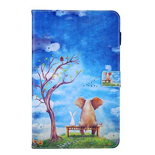 Samsung Galaxy Tab A6 7.0'SM-T280 T285 Funda para Tableta-PU Funda Protectora de Cuero con Tapa con función de Soporte y Ranuras para Tarjetas-Elefante y Conejo
