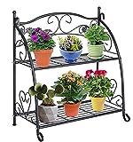 DOEWORKS 2 Etagen Metall Pflanzenständer Blumentreppen Blumentopf Gartenregal Lagerregal Topfhalter für Indoor Outdoor, Schwarz