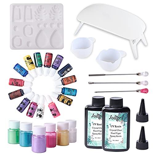 Kit Resina UV para Principiantes con Lámpara + Moldes silicona + Tintes Líquidos 15 Colores + Purpurinas 6 Colores para Hacer Joyas, Set Resina UV Dura Transparente con Herramientas para Manualidades