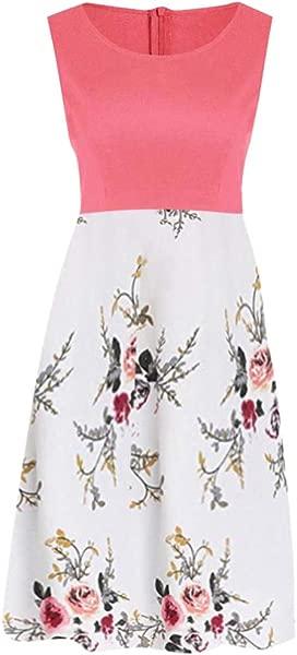 ZOMUSAR 2019 Dress Women Vintage Sleeveless Ladies Dress Printed Floral Tunic Tank Zipper Dress