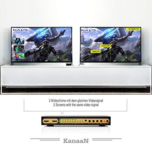 KanaaN Leicke 4K UltraHD HDMI 6x2 Matrix Switch | Fernbedienung | 5.1 Surround SPDIF Optisch + Stereo 3.5mm Klinke Audioausgang | Arc und Pip | FullHD, UHD, 4K, 4K*2K | HDMI 1.4 Standard | HDCP 2.0
