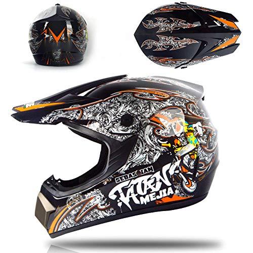 Motor off-road helm kinderen en adolescenten elektrische helm skelter volledige helm helm-Bright zwarte locomotief Licht, comfortabel en veilig helmet_S