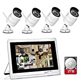 YESKAMO Wireless CCTV Home Security Camera Systems with 12' IPS HD Monitor 4pcs 1080P Wifi IP Cameras 2.0 Megapixel Outdoor Video Monitoring Surveillance Kits Pre-installed 2TB HDD for Recording