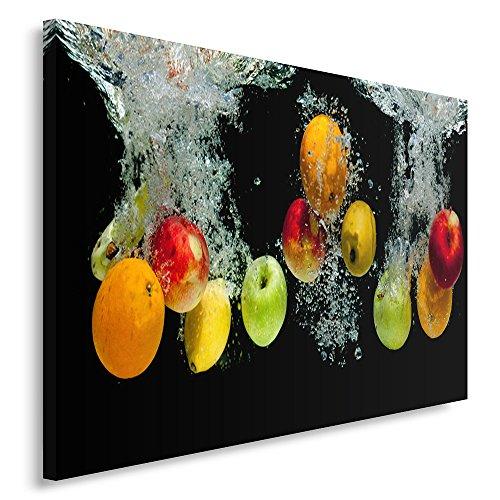 Feeby Frames, Tableau imprimé XXL, Tableau imprimé sur Toile, Tableau Deco, Canvas 40x50 cm, CULINAIRE, Pommes, Eau, Couleurs