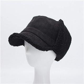 SHENTIANWEI Winter hat Ladies Korean Version of The Corduroy Cap Lambs Velvet Ear Protection Warm hat (Color : Black)