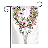 Garden Flag Yard Decorations Sign Watercolor Element Western Cattle Mystical Deer Elk Animals Wildlife Like Traditional Vintage Outdoor Small Polyester Flag Double Sided 12' x 18'