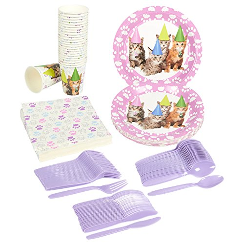 Kitten Party Supplies – Serves 24 – Includes Plates, Knives, Spoons, Forks, Cups and Napkins. Perfect Kitty Cat Birthday Party Pack for Kids Kitty Cat Themed Parties.
