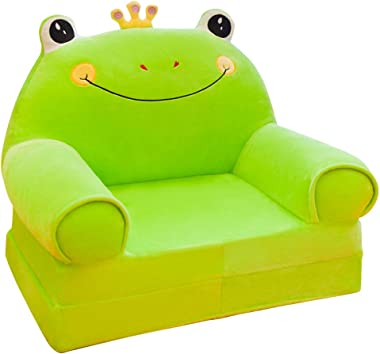 Olpchee Plush Foldable Children's Sofa Backrest Chair Cute Cartoon Animal Sweet Seats Bean Bag Armchair for Playroom Bedroom