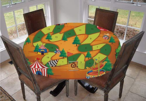 Board Game Round Tablecloth,Circus Themed Design Jokers Tents Balloons Trees Playful Joyous Cartoon Field Polyester Indoor Outdoor Tablecloth,36 Inch,for Dining Rooms and Kitchens Multicolor