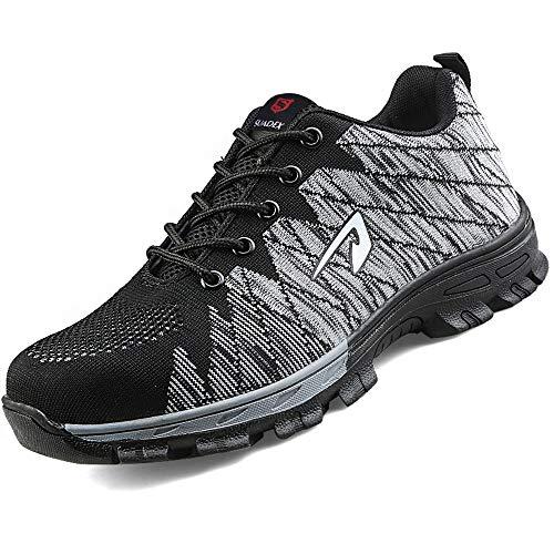 SUADEEX Damen Herren Sicherheitsschuhe Sportlich Trekking Wanderhalbschuhe Stahlkappe Arbeitsschuhe Hiking Schuhe Traillaufschuhe, 05-grau, 40 EU