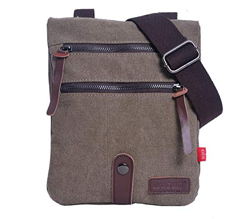 Small Messenger Bag, Small Vintage Canvas Shoulder Bag Crossbody Purse (Grey)
