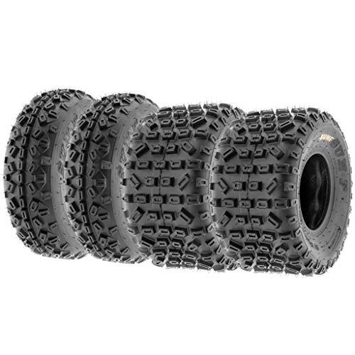 Set of 4 SunF A035 XC MX 20x6-10 Front & 18x10-8 Rear Sport ATV UTV Knobby Tires, 6 PR, Tubeless