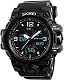 SKMEI Men's Sports Watch, Large Face Waterproof Dual Time Stopwatch Alarm LED Back Light Count Down Wrist Watch