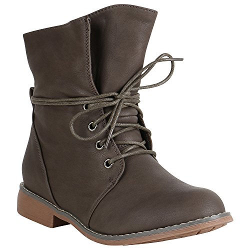 stiefelparadies Damen Stiefeletten Schnürstiefeletten Leicht Boots Leder-Optik Schuhe Schnürboots 151507 Taupe Gefüttert Brito 37 Flandell