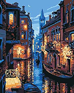 Venice Night Landscape Oil Painting By Numbers Kit DIY Canvas Painting Abstract Wall Art Painting For Living Room