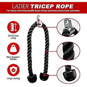 LADER Cable Machine Attachments LAT Pulldown Accessories - V-Shaped Handle + Triceps Rope Pull Down Attachment + Exercise Handles + Ankle Straps + Carabiner Clips for Home Gym Workout