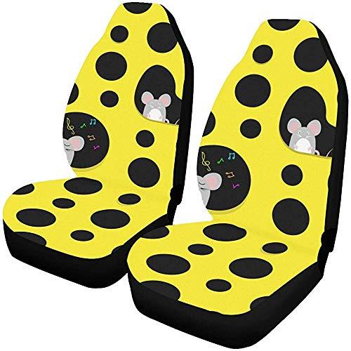 Fall Ing Autostoelhoezen, voorstoelen, ratten, muis, kaas, creatieve inrichting, voor autostoelen, cartoon-motief, geschikt voor de meeste auto's