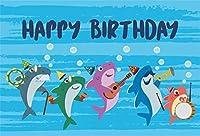 新しい10x7ftビニールお誕生日おめでとう写真背景漫画水中世界サメ家族一緒に音楽を再生写真の背景ベビーシャワー新生児ポートレート写真装飾スタジオ小道具