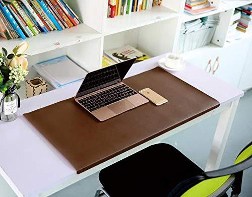 Alfombrilla de escritorio de cuero impermeable de alta calidad con protección de labios para oficina/hogar, organizador de escritorio grande para teclado portátil Mouse Pad-marrón oscuro-60 x 120 cm