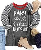 Baby It's Cold Outside T-Shirt Women Christmas Snowflake 3/4 Sleeve Baseball Top Tees Casual Holiday Top Shirt (M, Stripe)
