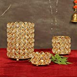 TIED RIBBONS Crystal Tealight Candle Holder for Home Décor for Formal Events,Wedding,Church,Holiday, Halloween Candle Holders Elegant Decoration Piece for Table (Pack of 3)