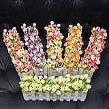 XuanMax 2pcs Roses Kunstblumen mit Zaun Kunstpflanzen mit Topf Künstliche Blumen im Pot Künstliche Pflanzen Gefälschte Topfpflanzen Bonsai Dekoartikel Ornamente 30 * 7.5 * 12cm – Farben Mischen - 2