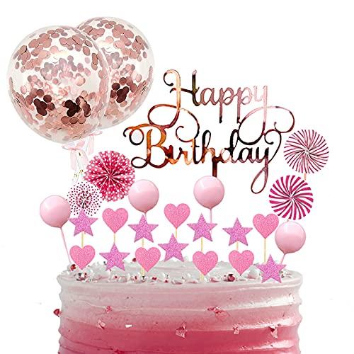 BOYATONG Happy Birthday Tortendeko Kuchen Deko Torte Kinder,Kuchen Topper Geburtstag,Happy Birthday Cake Topper Rosegold,Glitzer mit Konfetti Luftballon für Geburtstag Mädchen Junge Mann Frauen