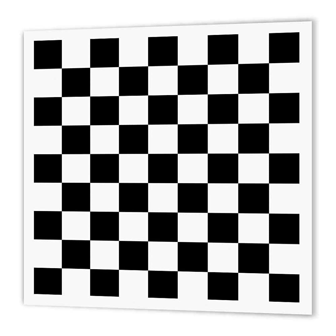 3dRose ht_154527_1 Check Black and White Pattern Checkered Checked Squares Chess Checkerboard or Racing Car Race Flag Iron on Heat Transfer, 8 by 8