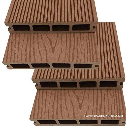 Suinga. Pack 4 TABLONES JARDIN COMPOSITE MADERA 200 x 14,6 x 2,5 cm. Compuesto por una mezcla heterogénea de madera natural reciclada y materiales sintéticos.