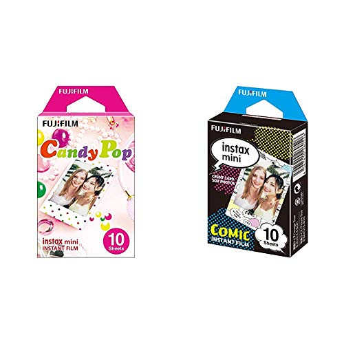 Fujifilm Instax Mini Candy Pop - Película instantánea + m Instax Mini - Película fotográfica, Cómic, Pack 10 películas