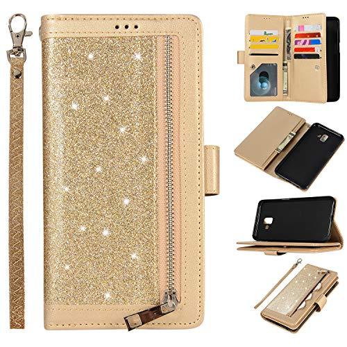 Snow Color Coque Galaxy J6+ (J6Plus) Portefeuille, en Cuir Flip Case pour Bumper Protecteur Magnétique Fente Carte Housse Cover Coque pour Samsung Galaxy J6 Plus/J610FN - COZY010159 Or
