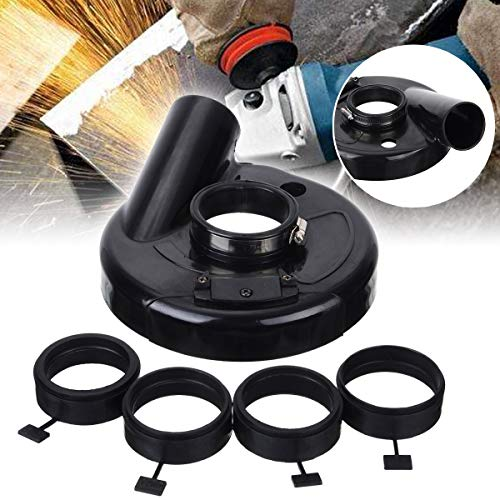 HARIKA 18cm/7' Vacuum Dust Shroud Cover for Angle Grinder Hand Grinding Accessory with 4pcs Locating Rings for Power Tools Accessories