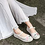 YYYSHOPP scarpe ricamate Old Pechino Panno Scarpe Originale Retro Ricamato Scarpe Hanfu Tea Art Vestiti Wild Mary Janes (colore : Beige, Taglia : 5.5)