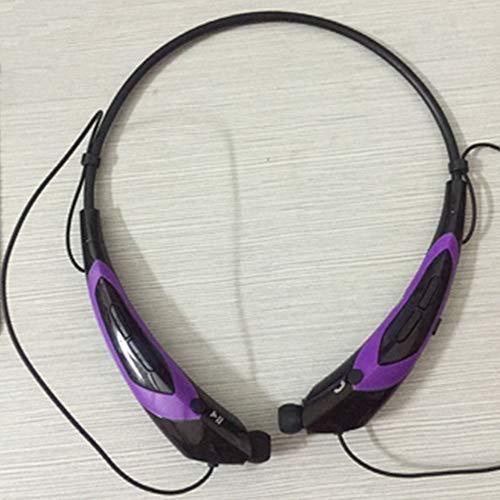 Bluetooth Headphones, Bluetooth 4.0 Draadloze Neckband Headset met Intrekbare Oordoppen, Sport Sweatproof Ruisonderdrukking Oortelefoon Paars