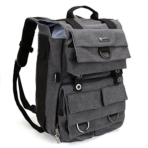 Evecase Canvas DSLR Camera Travel Backpack with 14 inch Laptop/Tablet Compartment for Digital SLR Interchangeable Lens Full Film Frame 4/3 Micro Four Third Mirrorless