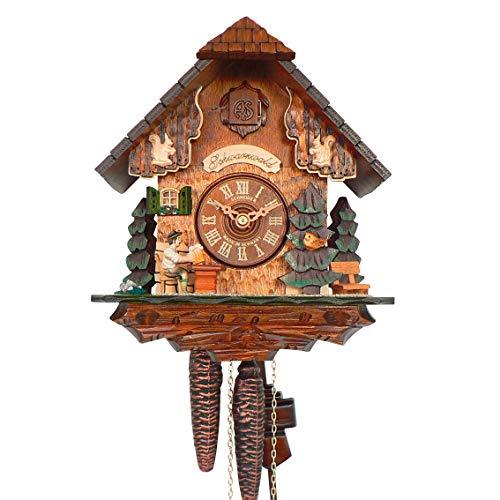 Selva koekoeksklok Brigach Zwarte Woud stijl - Made in Germany - massief houten behuizing, ideeënrijk versierd - liefhebbers van koekoekhorloges komen hier volledig op hun kosten! (Hoogte: 25 cm) - C336403