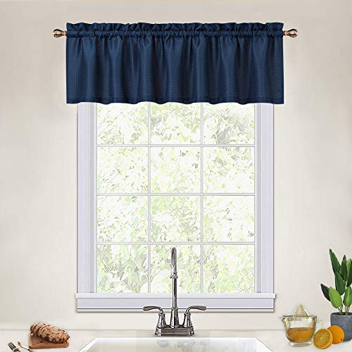 Navy Blue Curtain Valances for Kitchen, Waffle Textured Short Valances for Bathroom Windows Cafe Bathroom Curtains Short, Navy Blue, 60x15 Inch