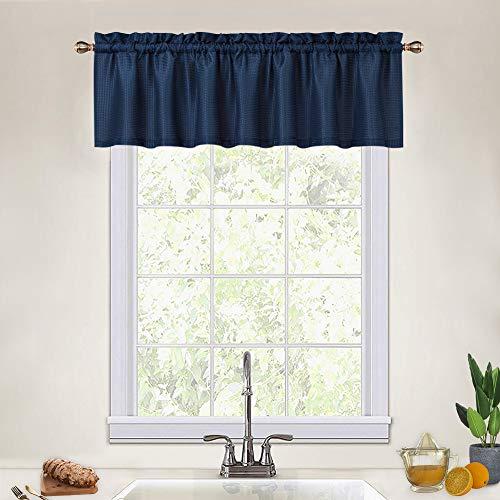 CAROMIO Navy Blue Curtain Valances for Kitchen, Waffle Textured Short Valances for Bathroom Windows Cafe Bathroom Curtains Short, Navy Blue, 60x15 Inch