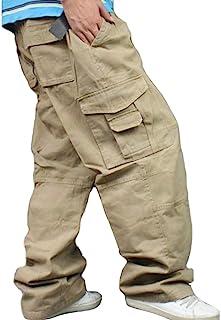 Men Plus Size Cargo Trousers Outdoor Dance Pants Loose Baggy Hip Hop Pocket