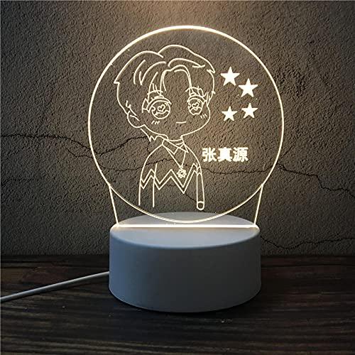 Luz Nocturna ,Lámpara De Ilusión Óptica Led 3D Con Placas Acrílicas De Patrones,Lámpara De Visualización Creativa Usb Regalo Para Niños,Chico De Punto Medio