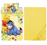 L.T.Preferita Disney Winnie The Pooh - Juego de ropa de cama para bebé, cuna, funda nórdica + funda de almohada + sábana bajera ajustable