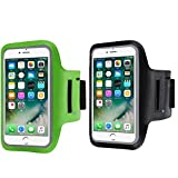 2 Pack Armband Sweatproof Running Armbag Gym Fitness Workout Cell Phone Case Key Holder Compatible with iPhone X/XS/XS MAX/XR/ 8 7 6 6s Plus Galaxy S9 S8 Edge,Phone Diagonal 5.3'~6.0'-Black+Green