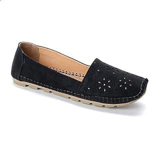 أحذية غرينتا سهلة الارتداء من الجلد الصناعي مع قطع ليزر للنساء