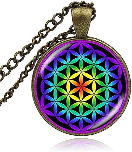 ZGYFJCH Co.,ltd Collar Geometría Sagrada Flor de la Vida Collar Colgante Mandala Cabujón de Cristal Budismo Collar de Yoga Espiritual Joyería de Mujer Collar Regalos
