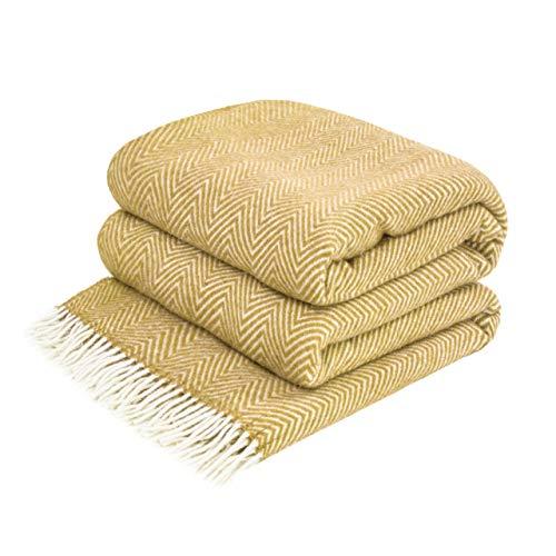 LoveYouHome Ecken Chevron Wolle Decke-Kuscheldecke Extra groß Überwurf Merino (140 cm X 200 cm - Senf-Gelb)