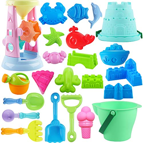ToyerBee Beach Toys- 24pcs Sand Toys Set with Sand Water Wheel, Bucket, Shovels, Rakes, Models & Molds in A Mesh Backpack, Outdoor Beach Sand Toys for Boys, Girls,Toddlers, Kids