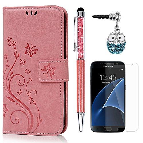 S7 Hülle Case KASOS Handyhülle Brieftasche Book Type PU Leder Tasche Gemalt Magnetverschluss Ledertasche Cover,Blume-Schmetterling Rosa + Stöpsel + Stylus + Schutzfolie für Samsung Galaxy S7